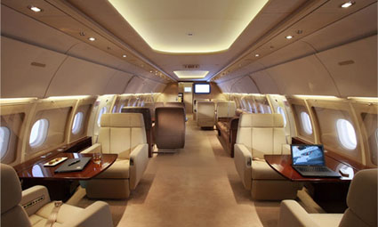 Interior of Airbus 318 Elite