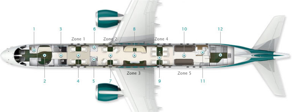 Floor plan of Embraer Lineage 1000