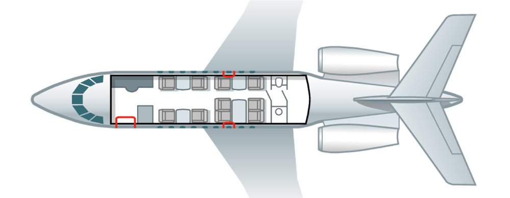 Floor plan of Falcon 2000 LX