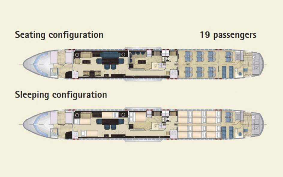 Floor plan of Airbus 319 Corporate Jet