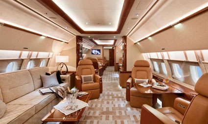 Interior of Airbus 319 Corporate Jet