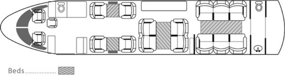 Floor plan of Falcon 900 B