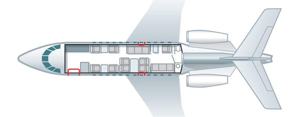 Floor plan of Falcon 900 EX