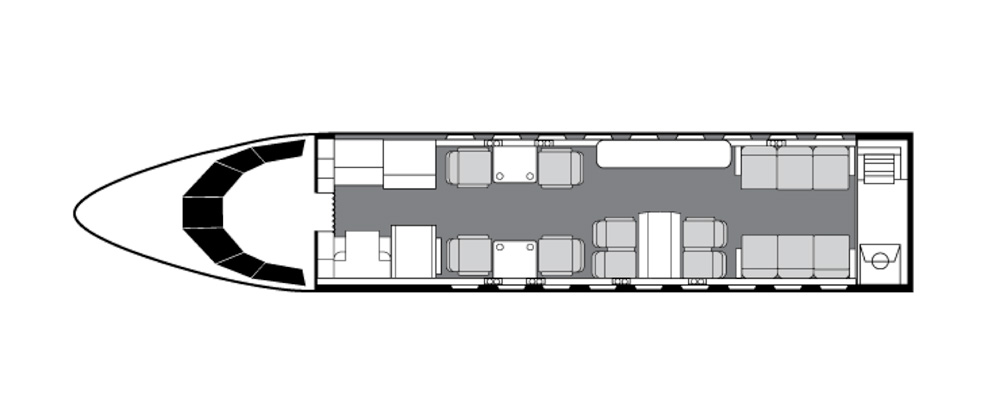Floor plan of Falcon 900 LX