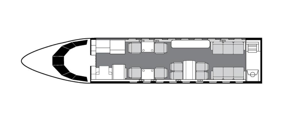 Floor plan of Falcon 900 LX
