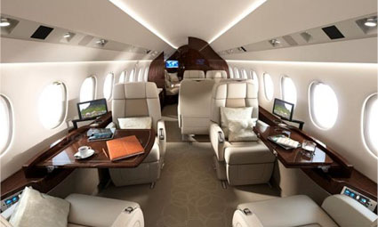 Interior of Falcon 900 LX