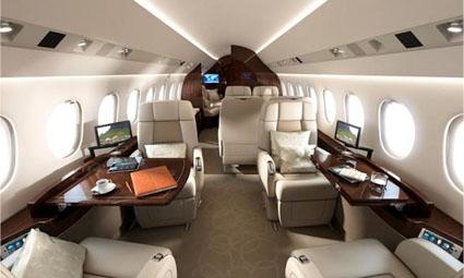 Interior of Falcon 900 LX