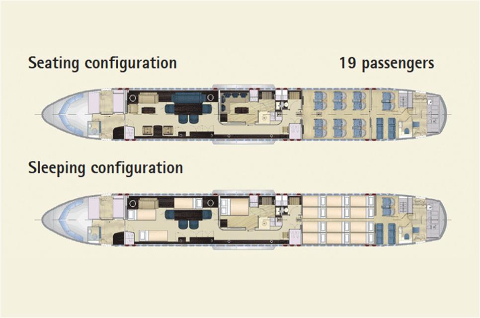 Floor plan of Airbus 320 Corporate Jet