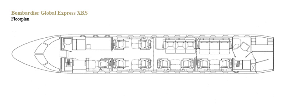 Floor plan of Global Express XRS