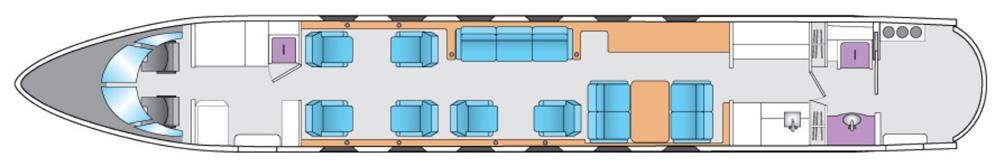 Floor plan of Gulfstream G450