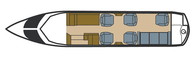 Floor plan of Hawker 700 A