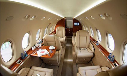 Interior of Hawker 750