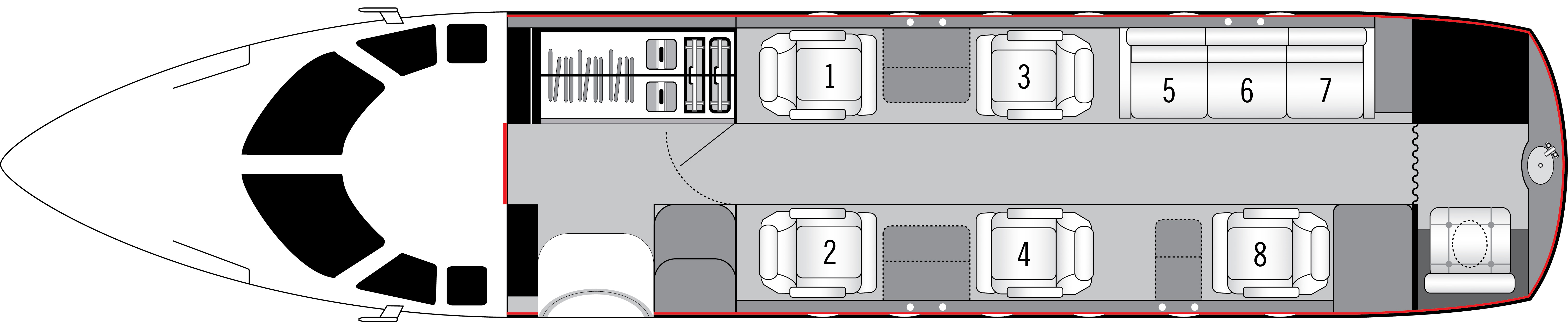 Floor plan of Hawker 800 A