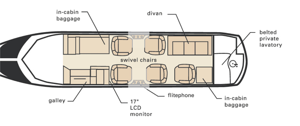 Floor plan of Hawker 800 XP