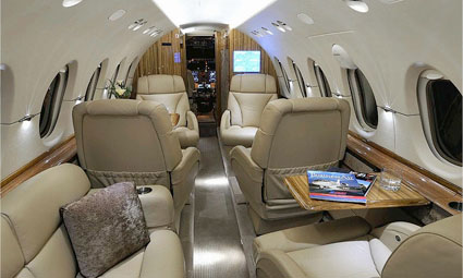 Interior of Hawker 800 XP