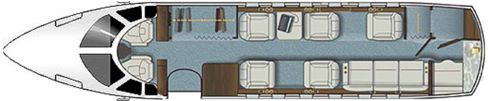 Floor plan of Hawker 850 XP