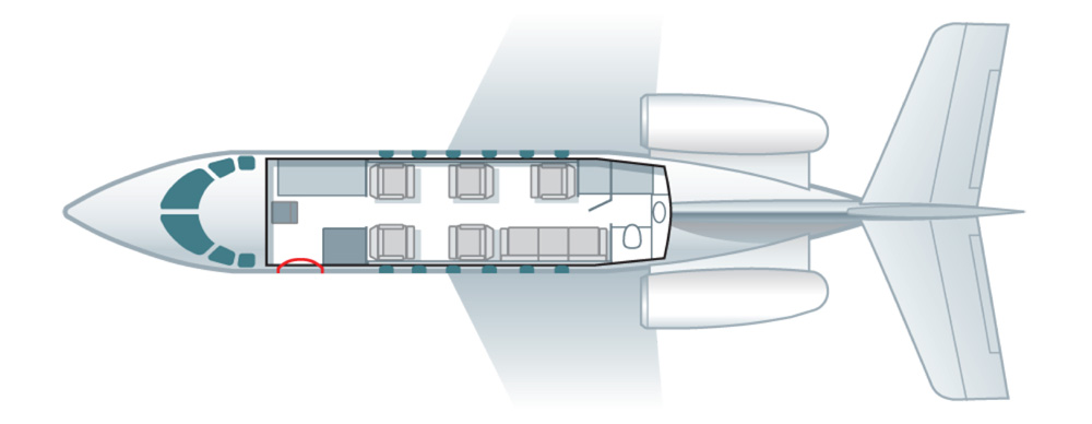 Floor plan of Hawker 900 XP