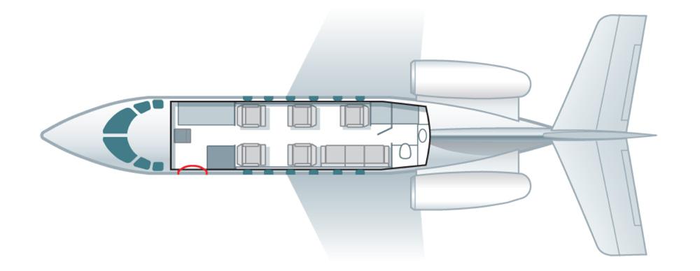 Floor plan of Hawker 900 XP