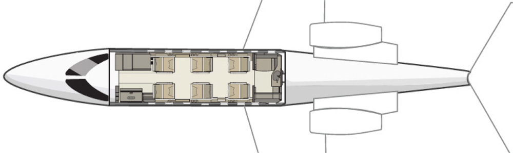 Floor plan of Learjet 40
