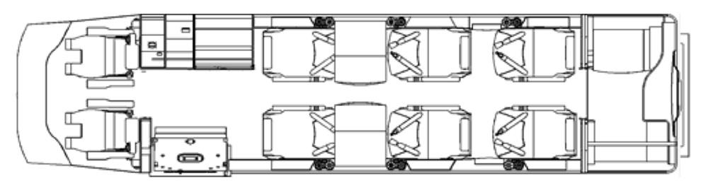 Floor plan of Learjet 40XR