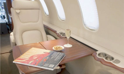 Interior of Learjet 45