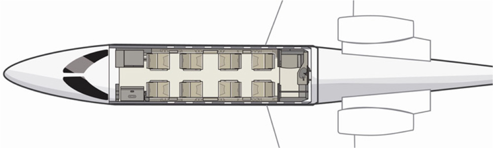 Floor plan of Learjet 45XR