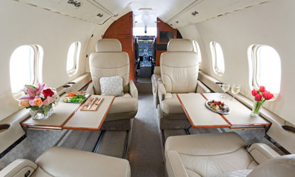 Interior of Learjet 55B