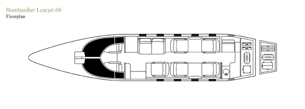 Floor plan of Learjet 60