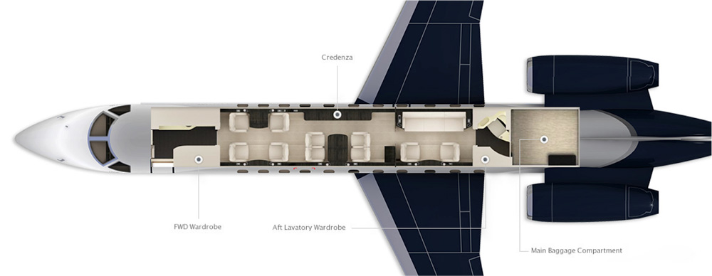 Floor plan of Legacy 650