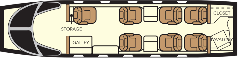 Floor plan of Nextant 400 XTi