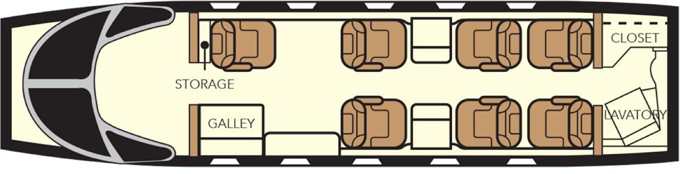 Floor plan of Nextant 400 XTi