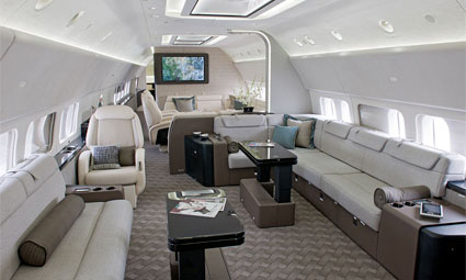 Interior of Boeing Business Jet