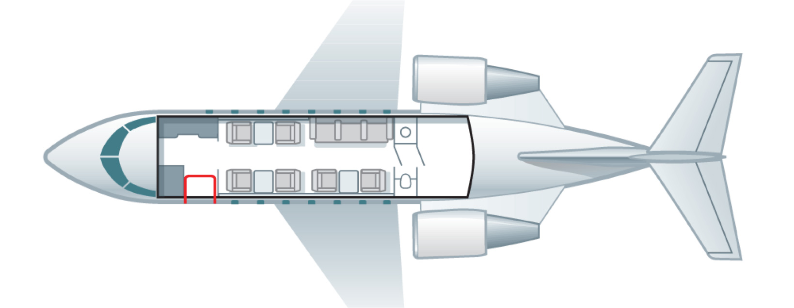 Floor plan of Challenger 605