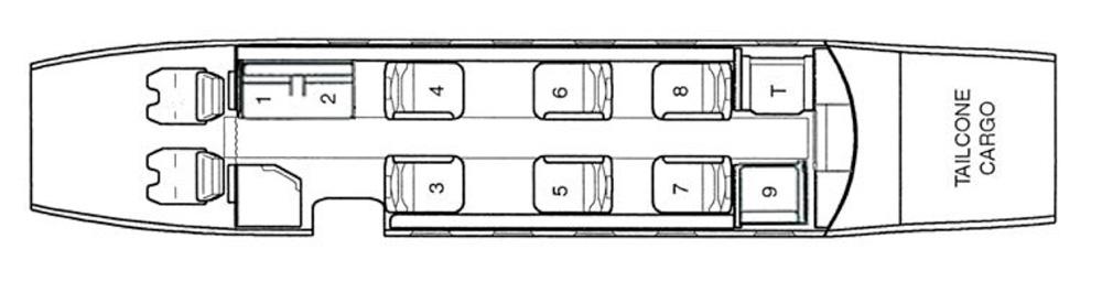 Floor plan of Cessna Citation Excel
