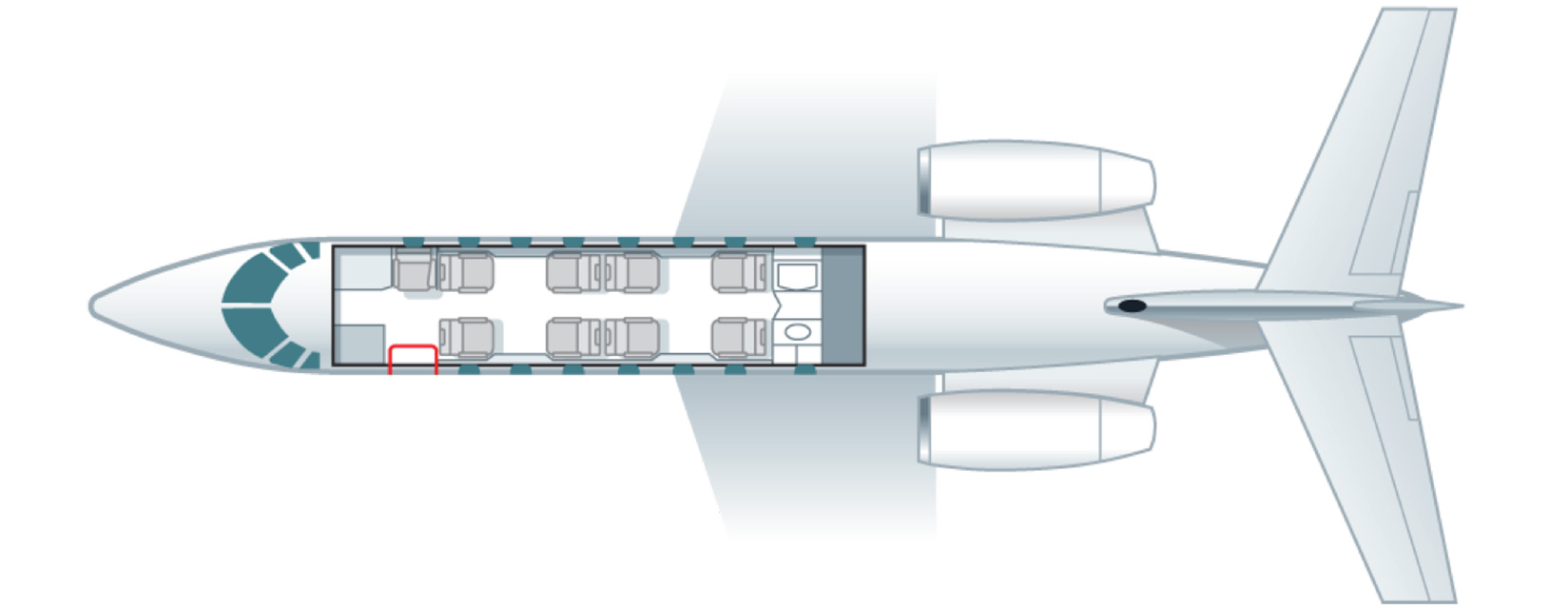 Floor plan of Cessna Citation Sovereign